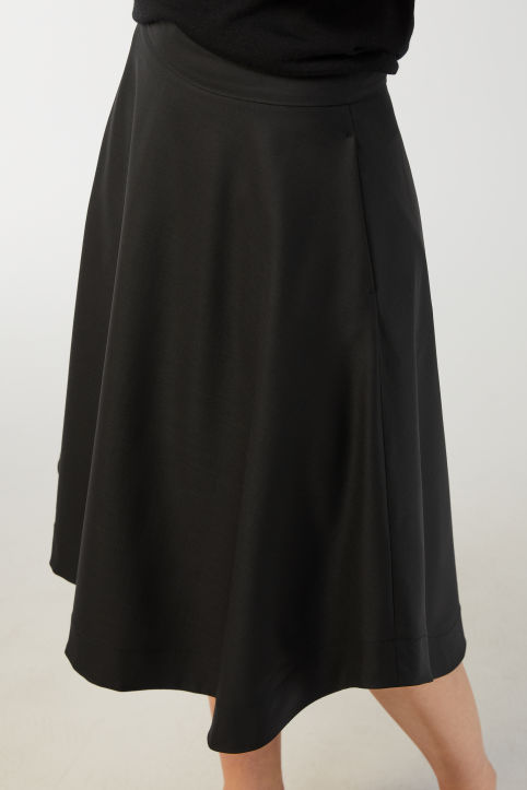 Flared Stretch Wool Skirt