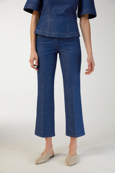 Cropped Denim Trousers