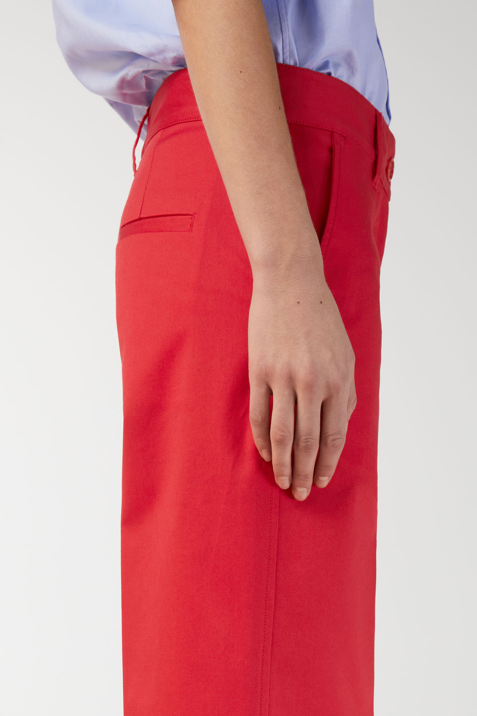 Detailed image of Arket wide-leg twill trousers in red