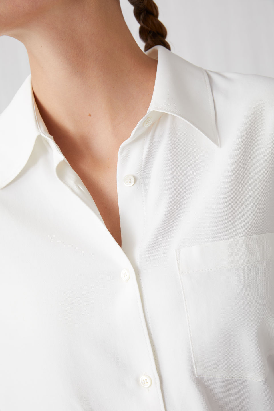 Detailed image of Arket fluid twill blouse in white