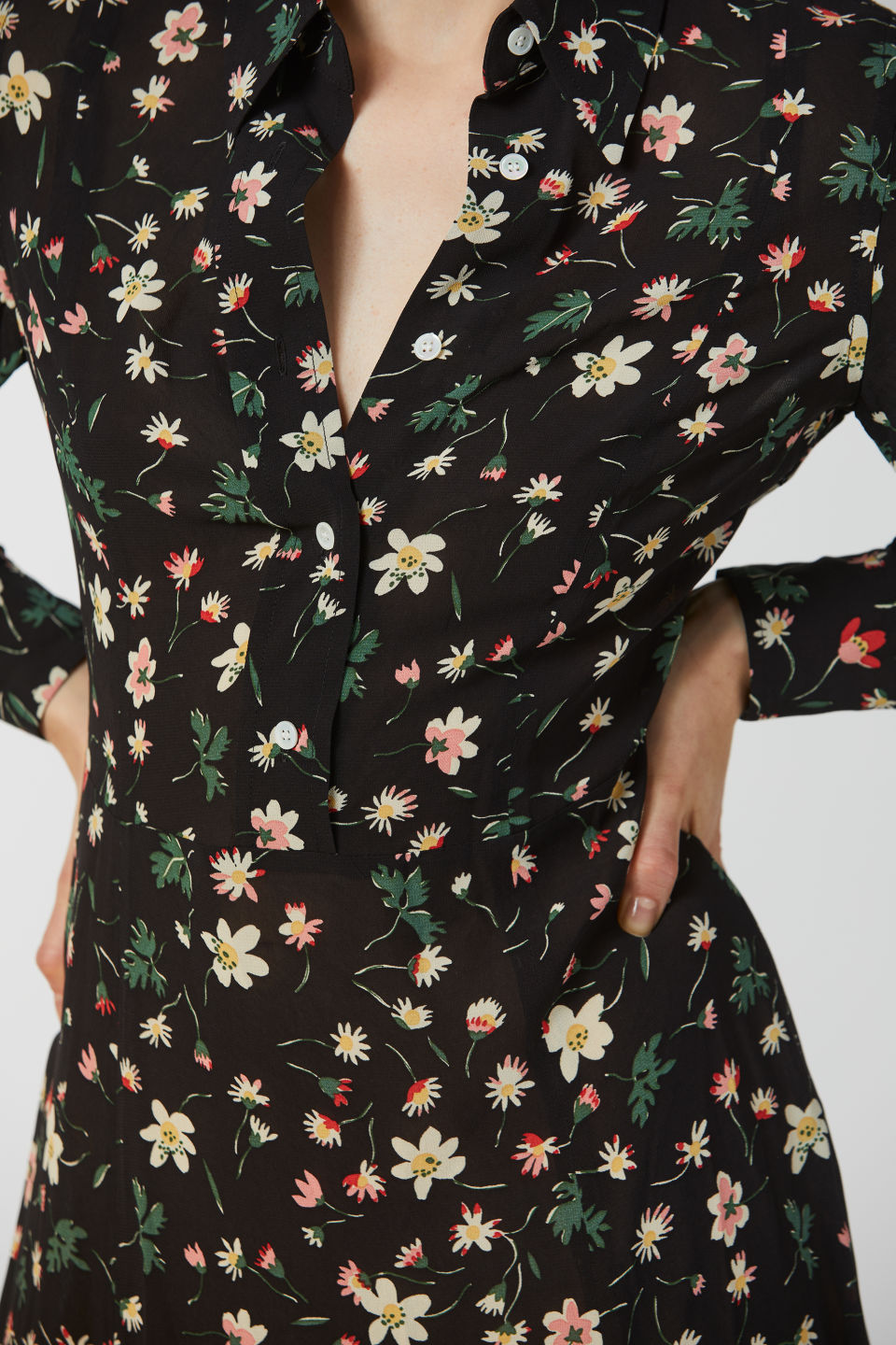 Detailed image of Arket floral print crepe dress in black