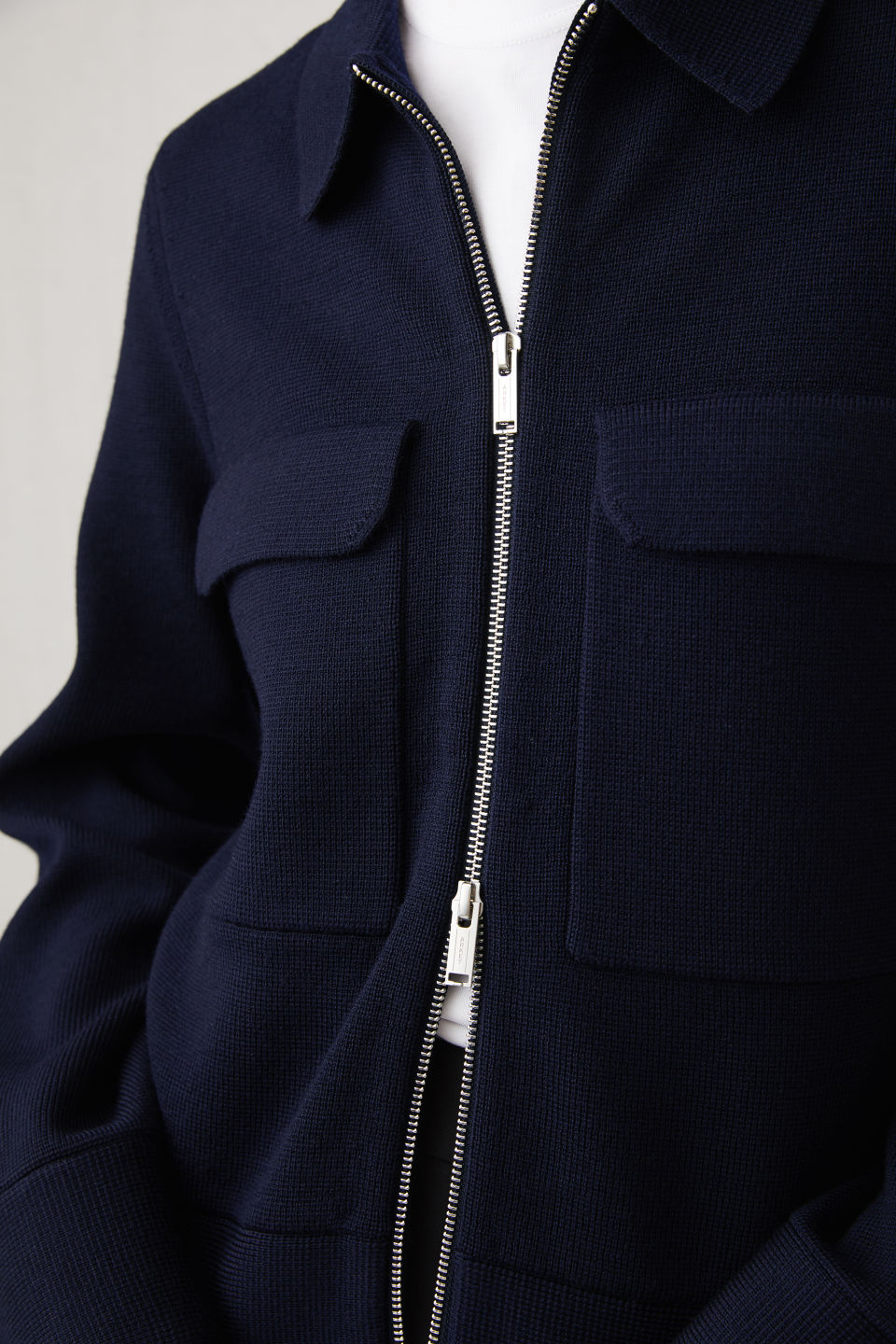Detailed image of Arket merino box jacket in blue