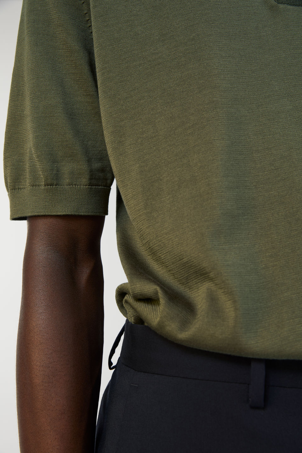 Detailed image of Arket cotton silk polo shirt in green
