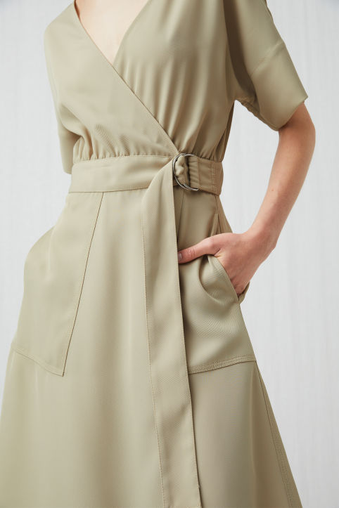 Fluid Twill Wrap Dress