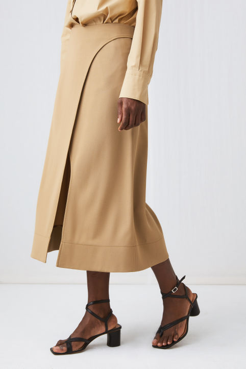 Fluid Wool Wrap Skirt