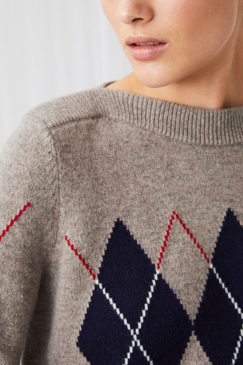 Argyle Boat Neck Jumper
