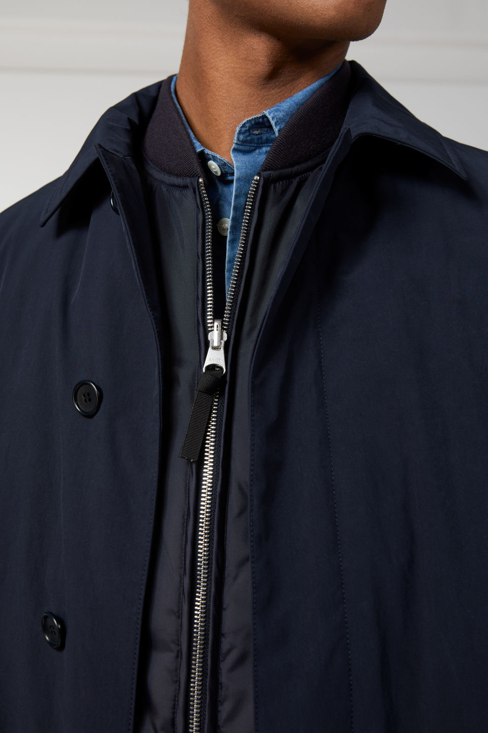 Detailed image of Arket lightweight topcoat in blue