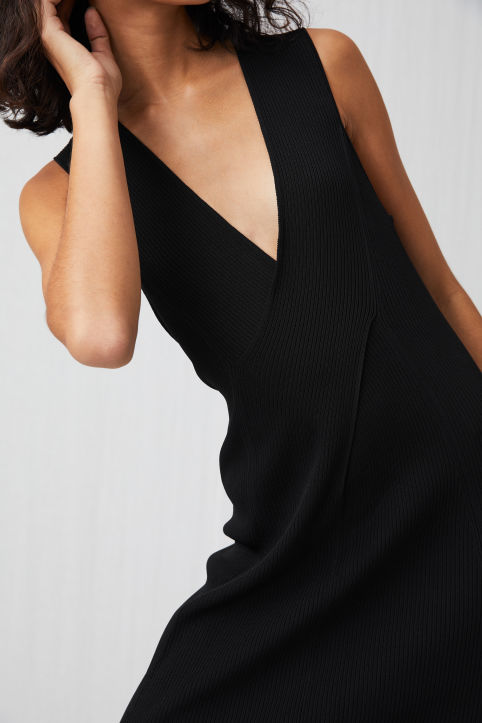 Rib-Knitted Sleveless Dress