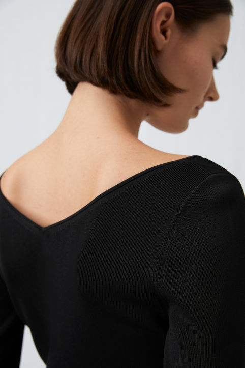 Rib-Knitted Long-Sleeve Top