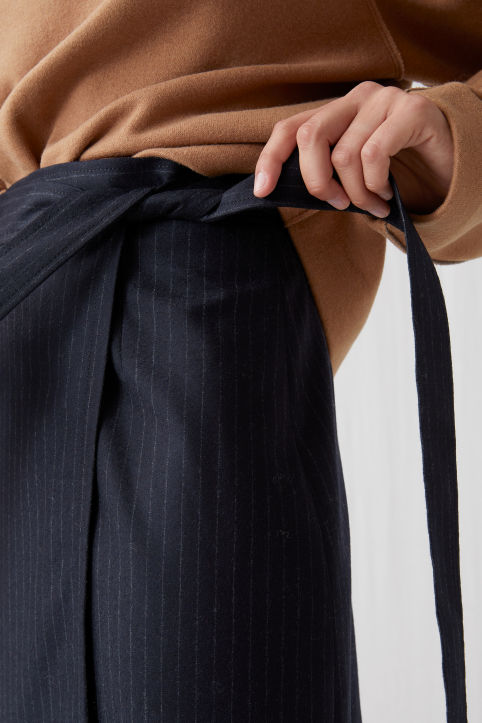 Pinstripe Wool Wrap Skirt