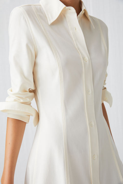 Cotton Stretch Shirt Dress