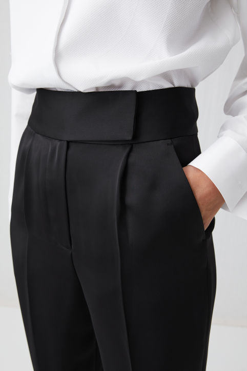 Tapered Satin Trousers