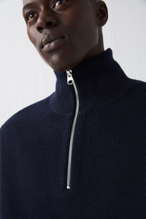 Wool & Cotton Half Zip Jumper