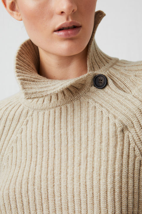 High-Neck Wool-Blend Jumper
