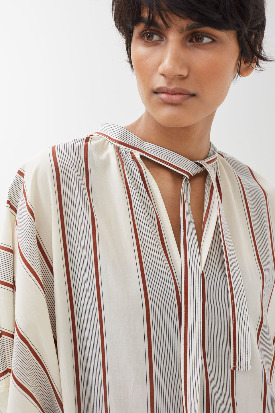Detailed image of Arket no ecom-striped kaftan dress in white