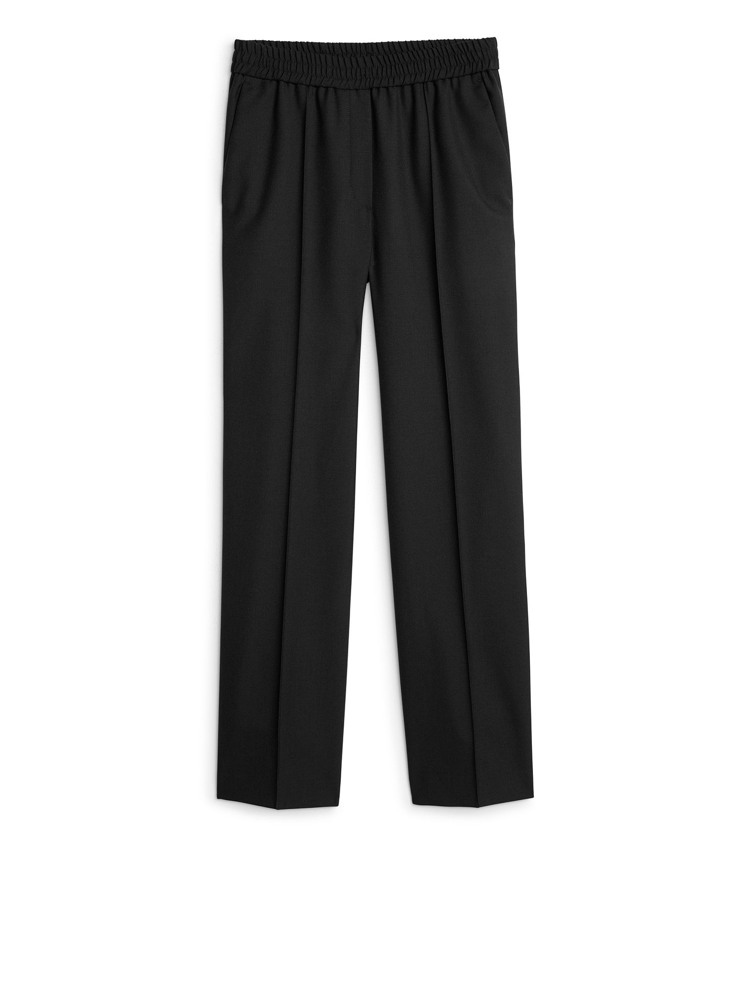 Fabric Swatch image of Arket elastic waist wool trousers in black