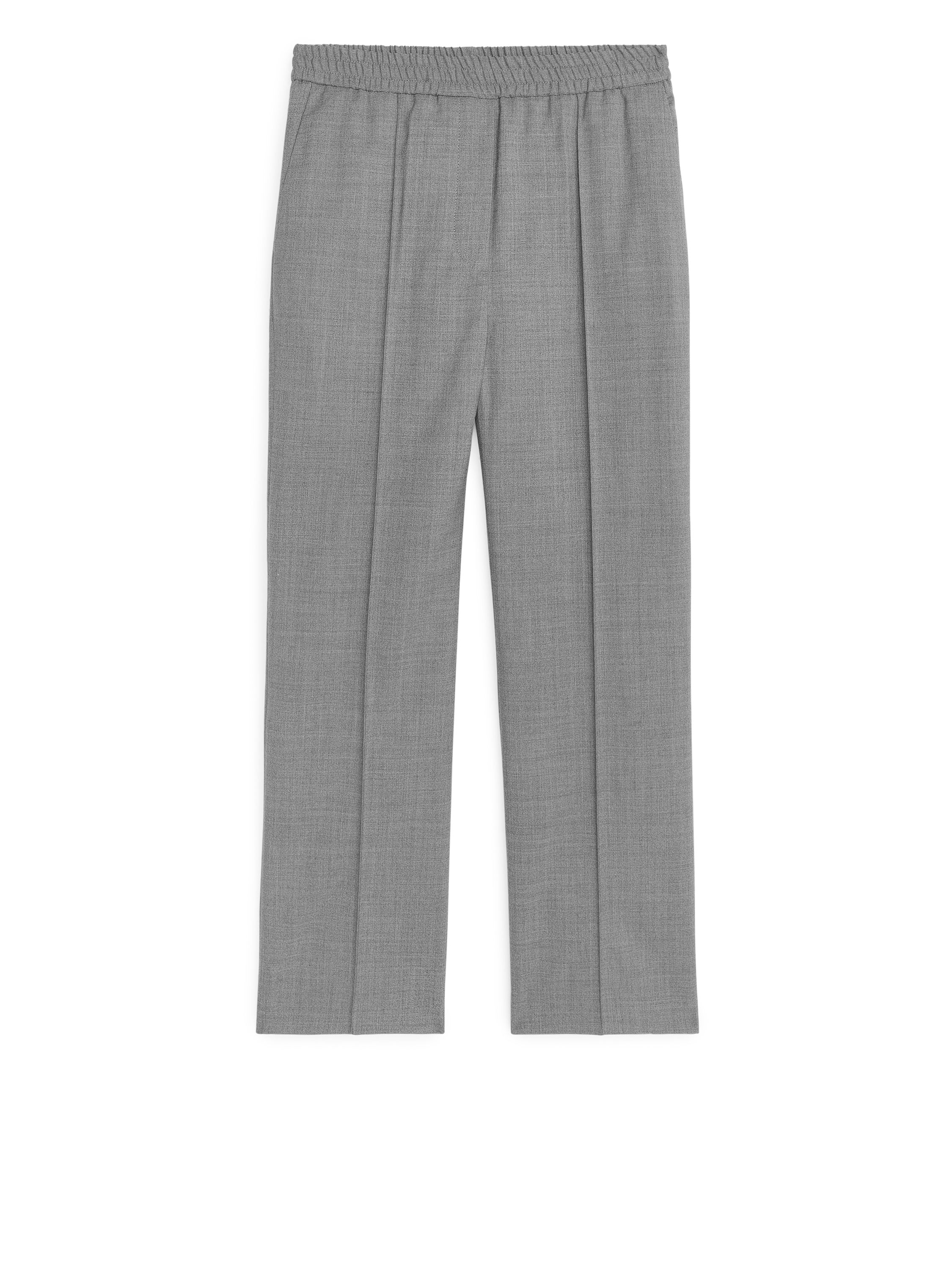 Fabric Swatch image of Arket elastic waist wool trousers in grey