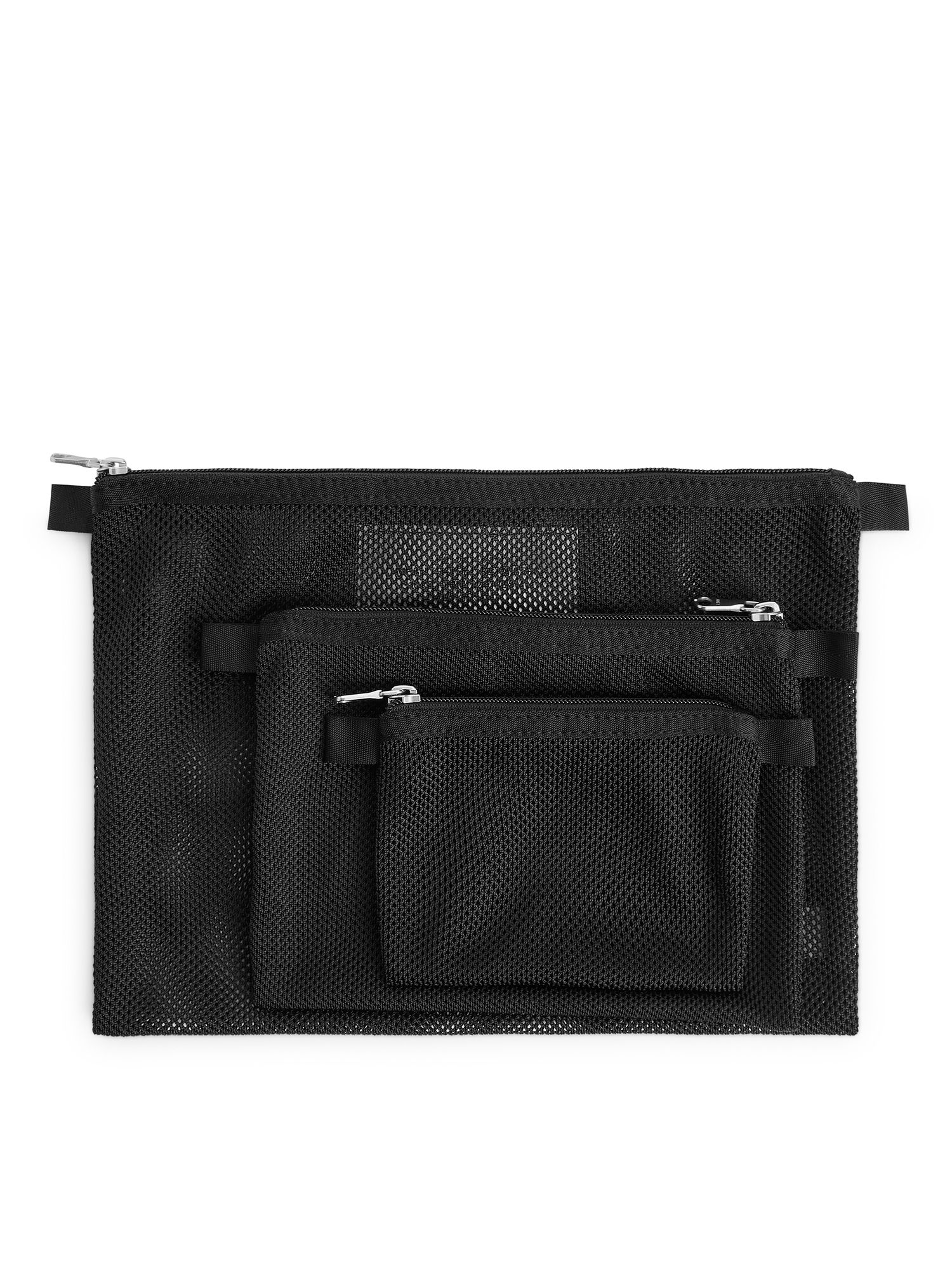 Fabric Swatch image of Arket mesh travel organisers, set of 3 in black
