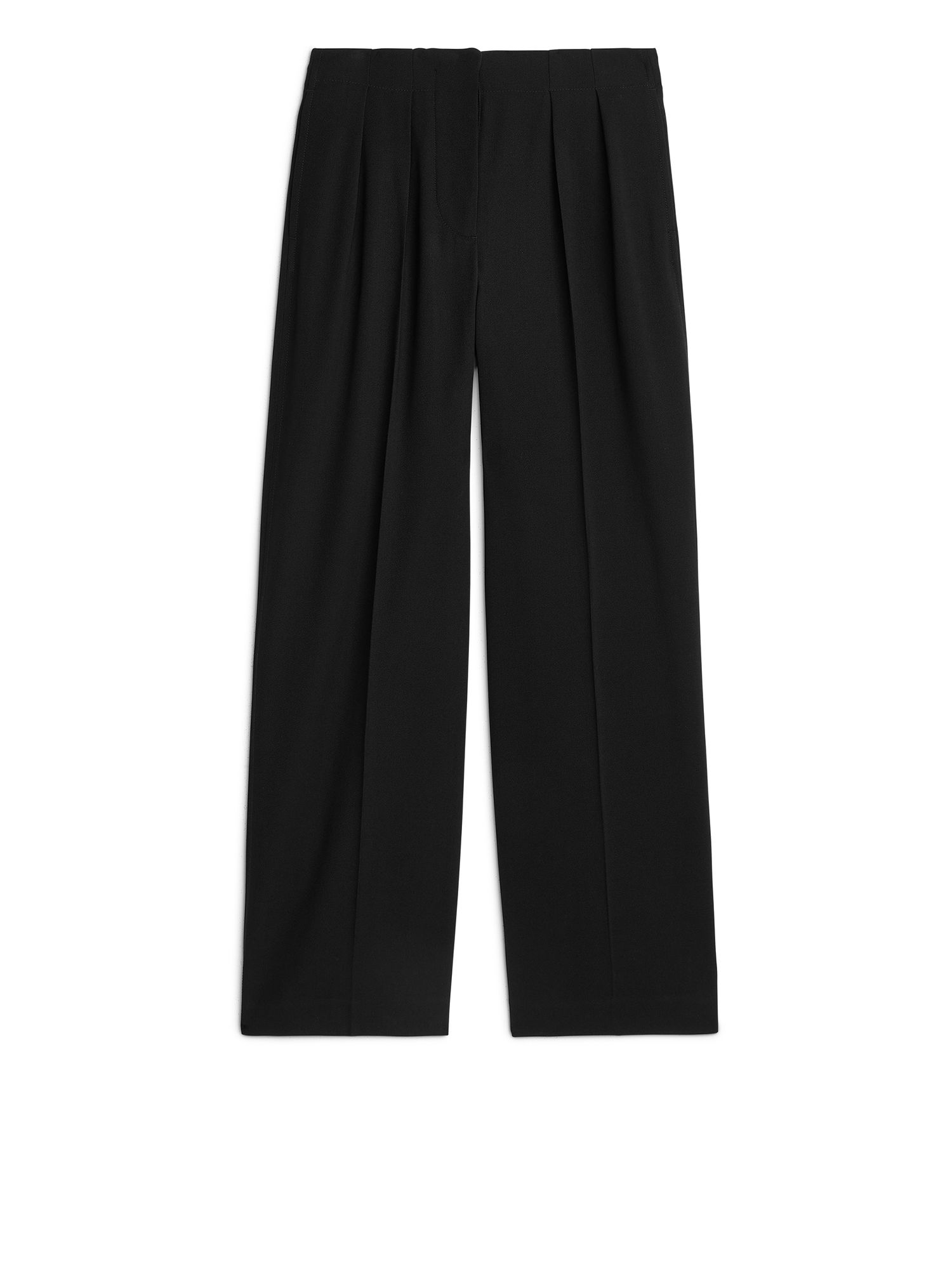 Fabric Swatch image of Arket wide fluid wool trousers in black