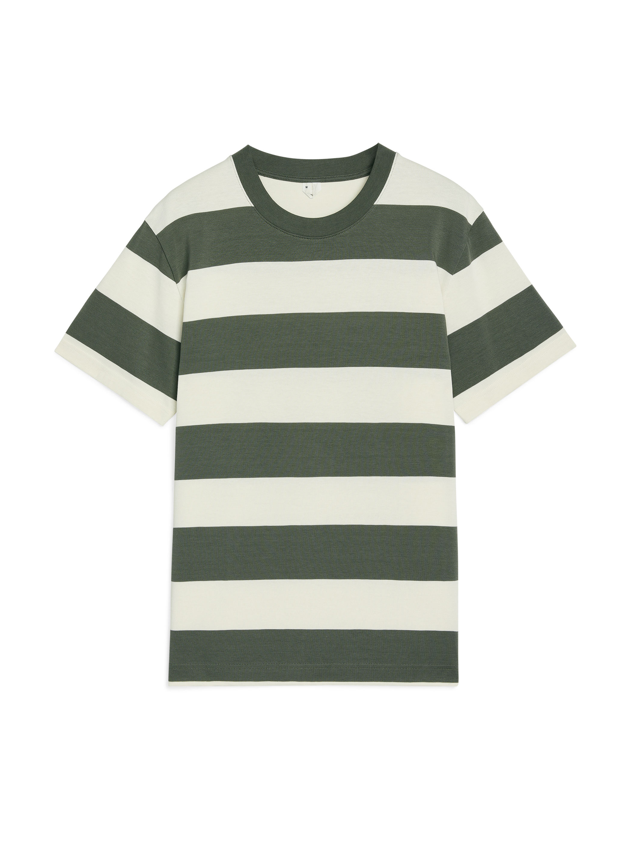 Fabric Swatch image of Arket block stripe cotton t-shirt in green