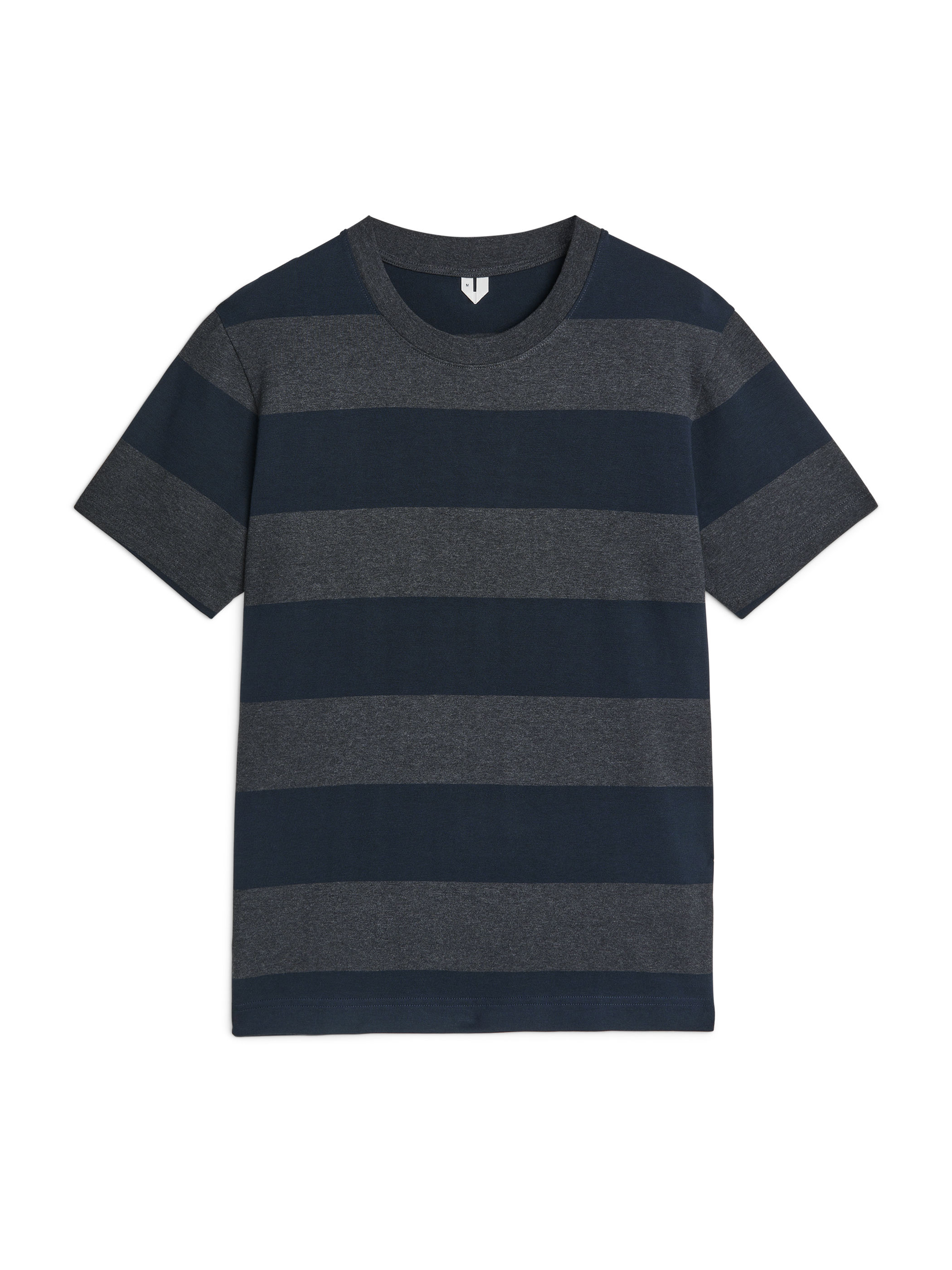 Fabric Swatch image of Arket block stripe cotton t-shirt in blue