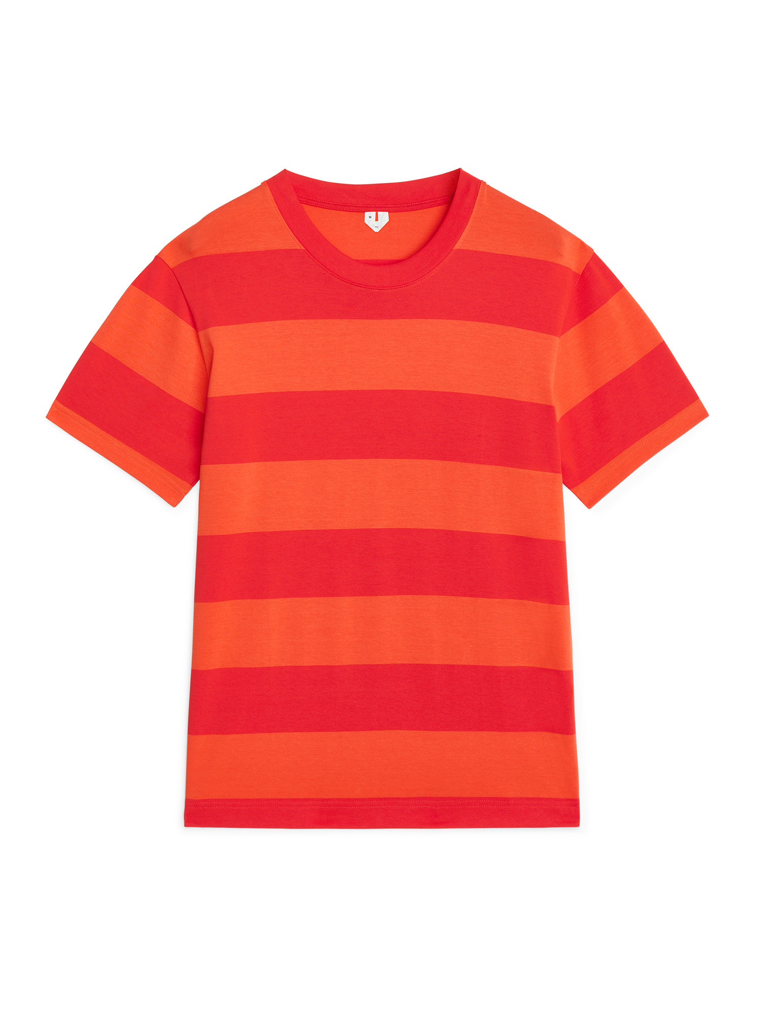 Fabric Swatch image of Arket block stripe cotton t-shirt in orange