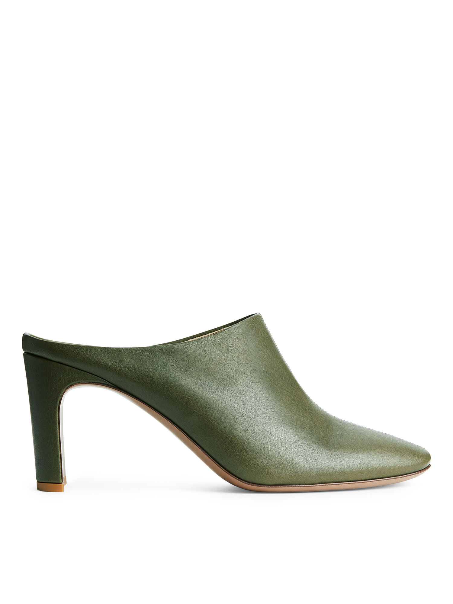 Fabric Swatch image of Arket heeled leather mules in green