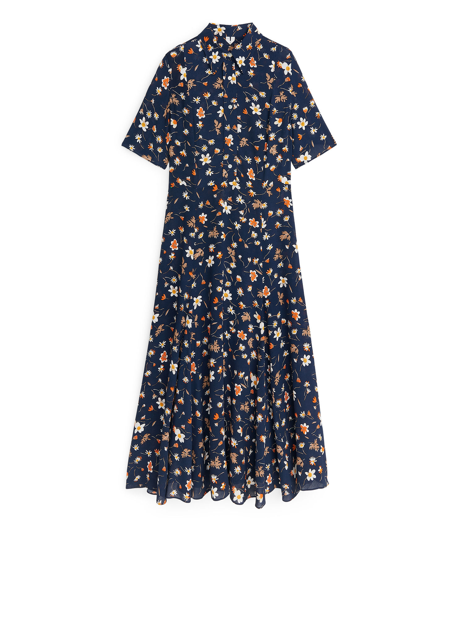 Fabric Swatch image of Arket f. ducharne floral crepe dress in blue