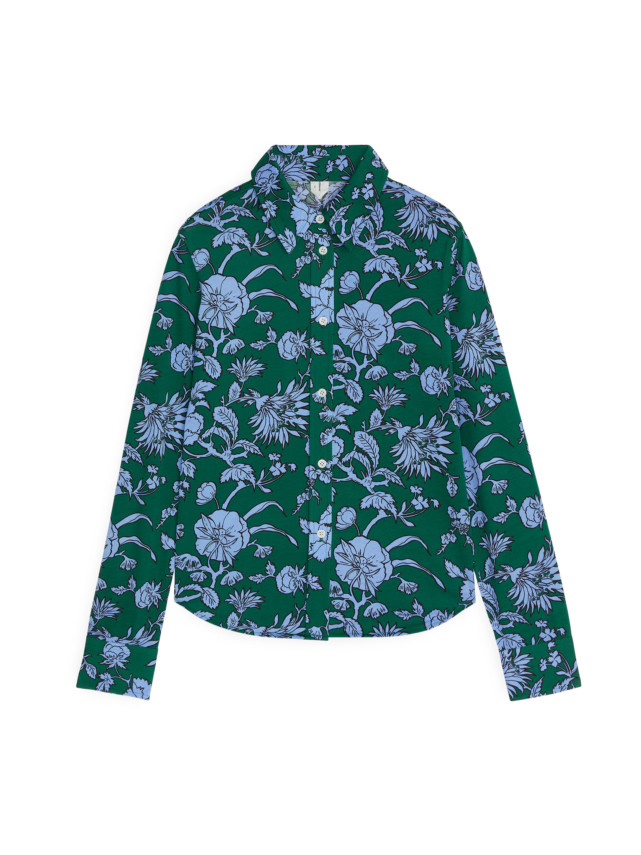 Fabric Swatch image of Arket floral jersey shirt in green