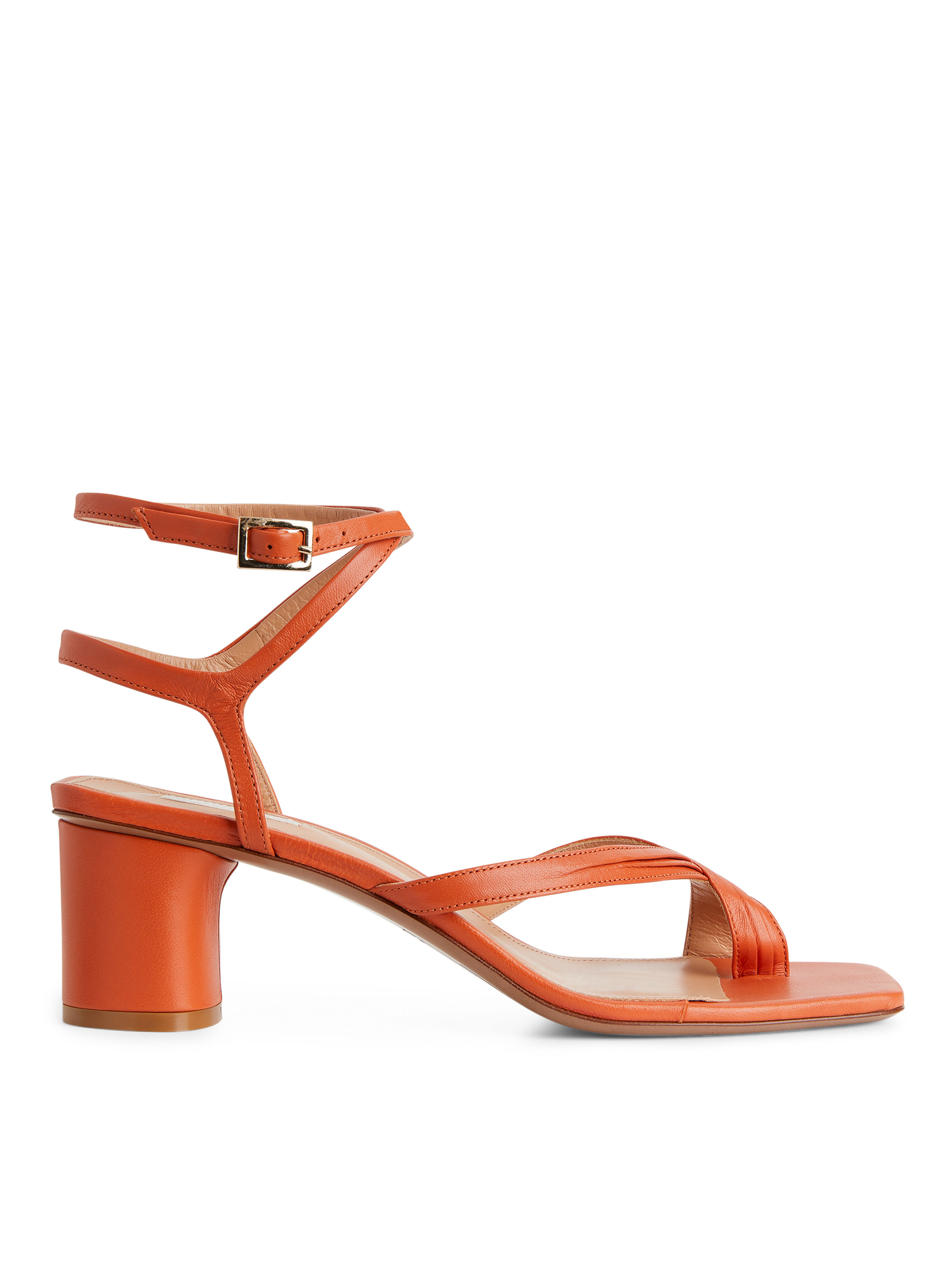 Fabric Swatch image of Arket ankle-wrap leather sandal in orange