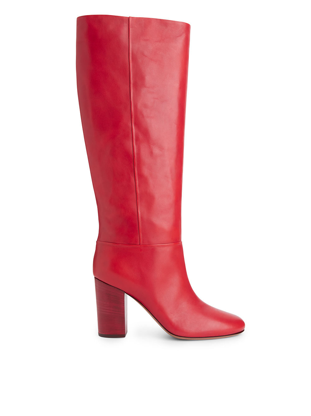 Fabric Swatch image of Arket high-heel leather boots in red