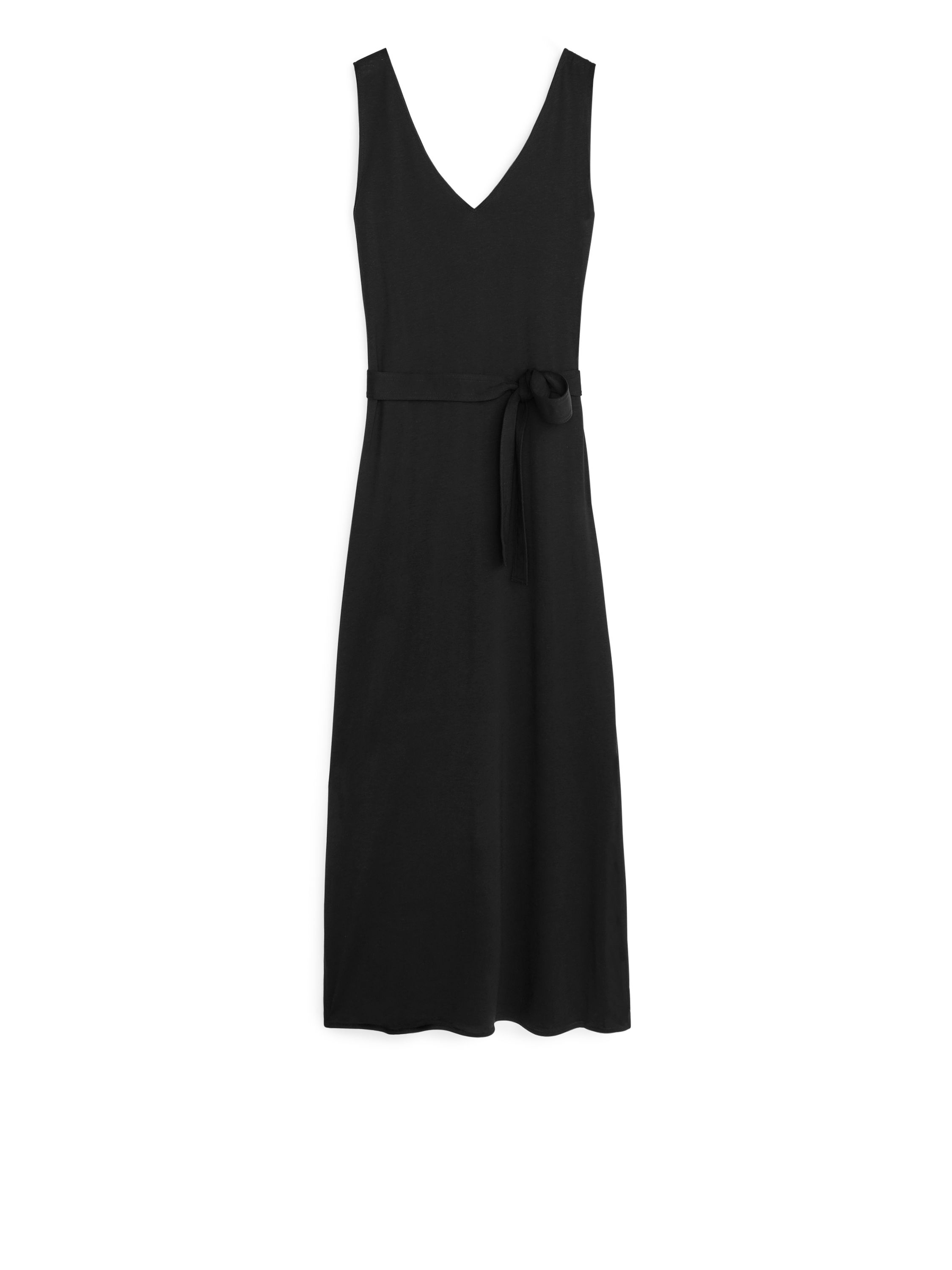 Fabric Swatch image of Arket v-neck jersey dress in black