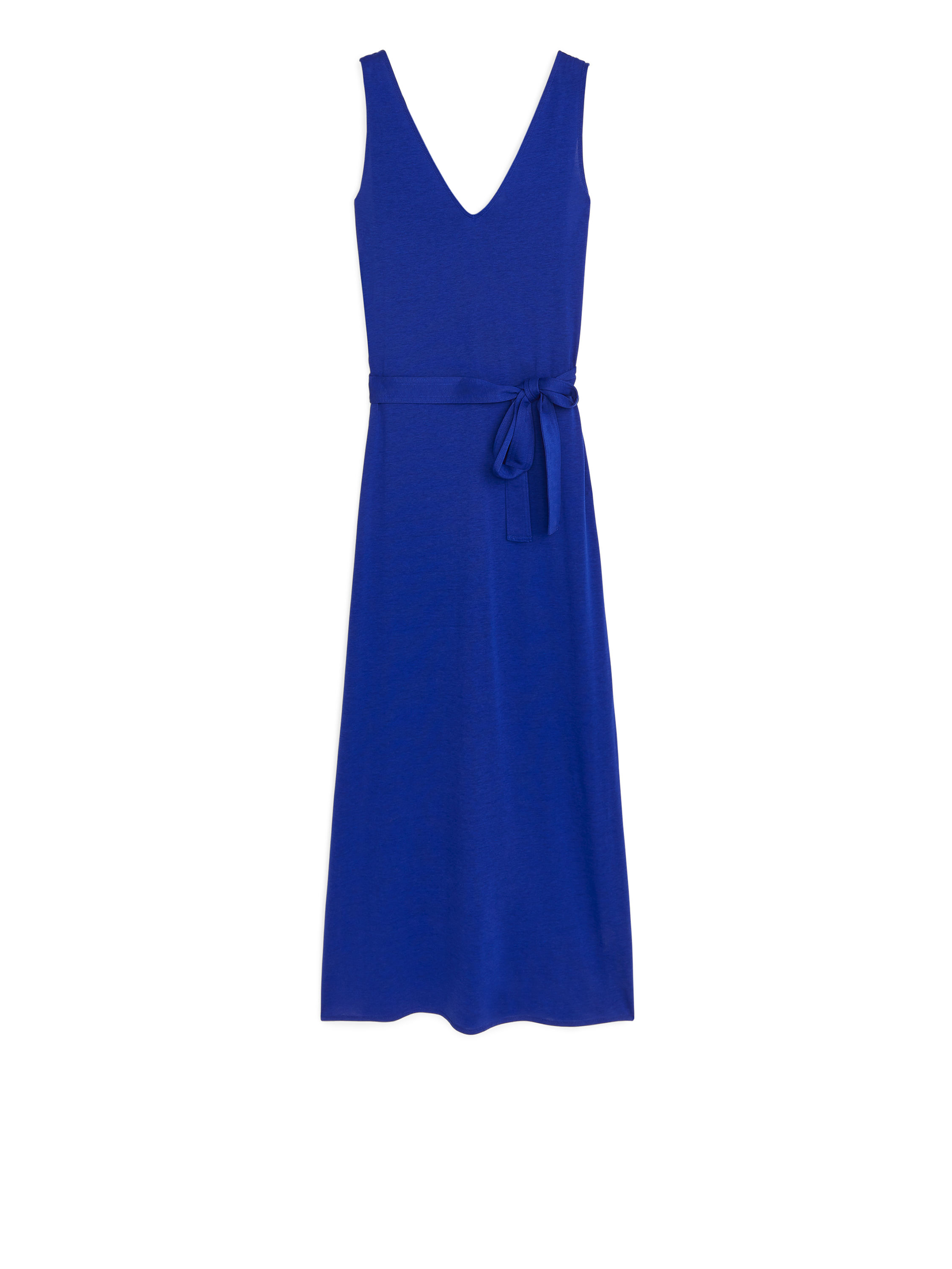 Fabric Swatch image of Arket v-neck jersey dress in blue