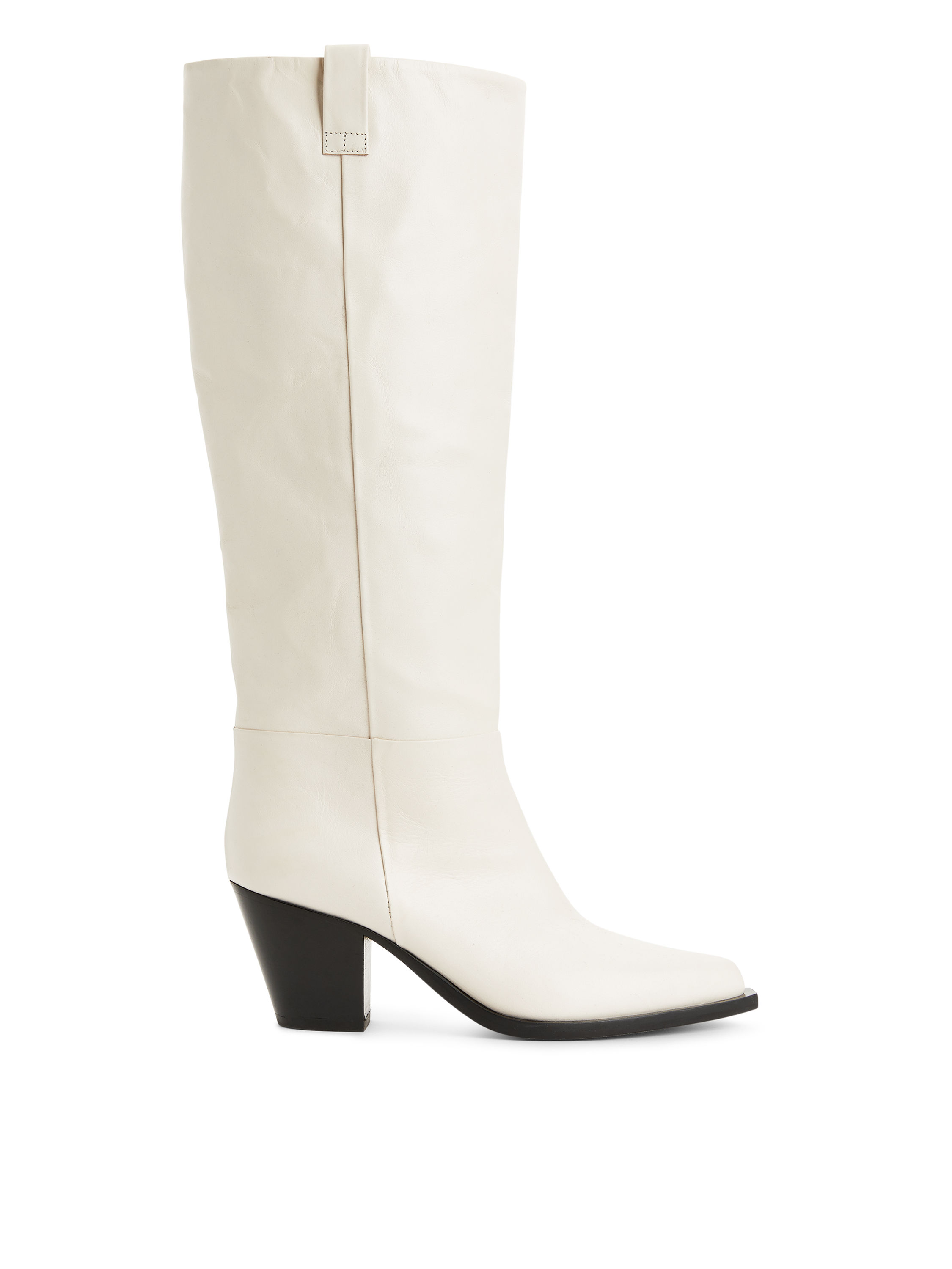 Fabric Swatch image of Arket angled heel high leather boots in white