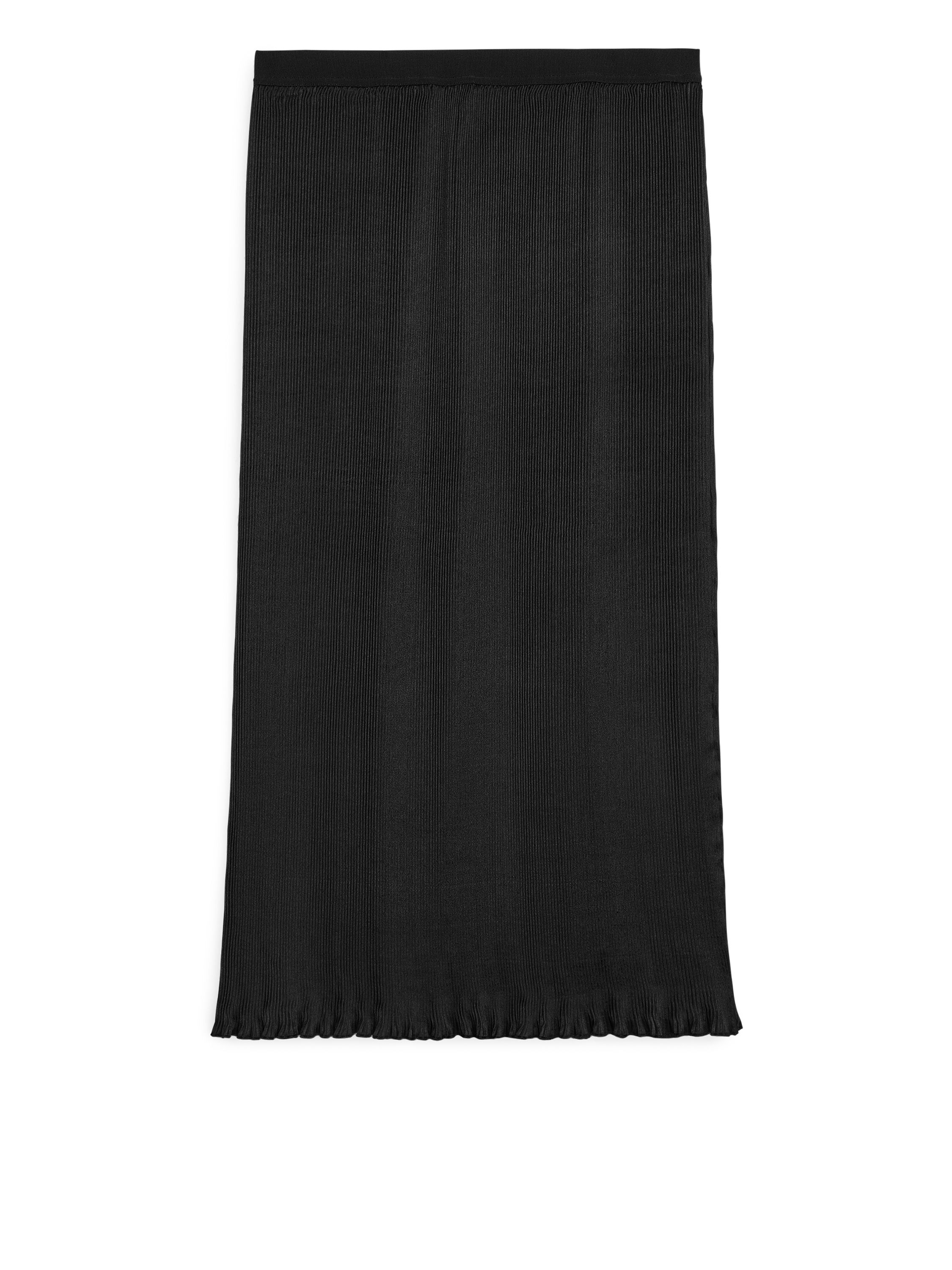 Fabric Swatch image of Arket plissé satin skirt in black