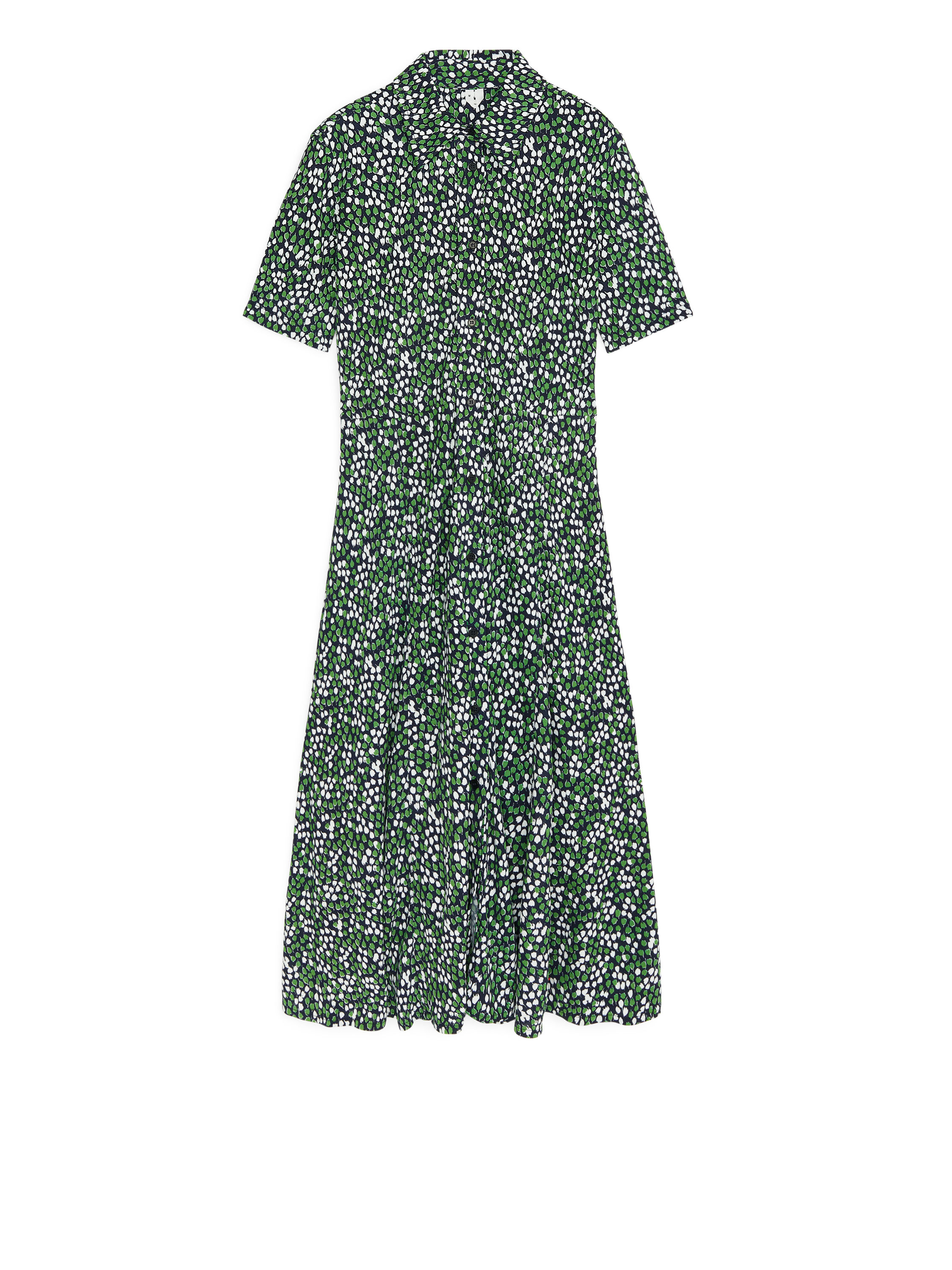 Fabric Swatch image of Arket floral jersey shirt dress in green