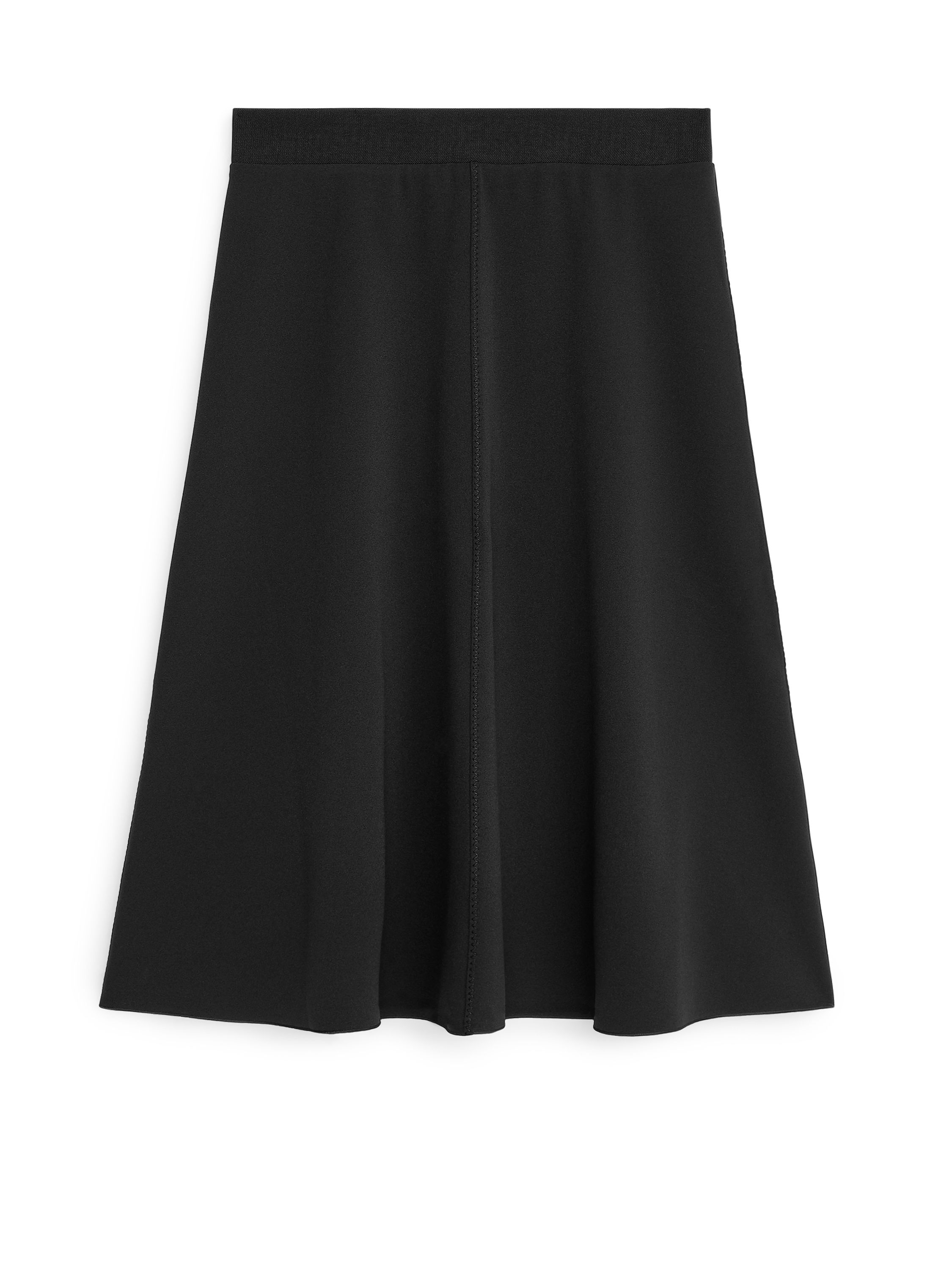 Fabric Swatch image of Arket stretch crepe a-line skirt in black