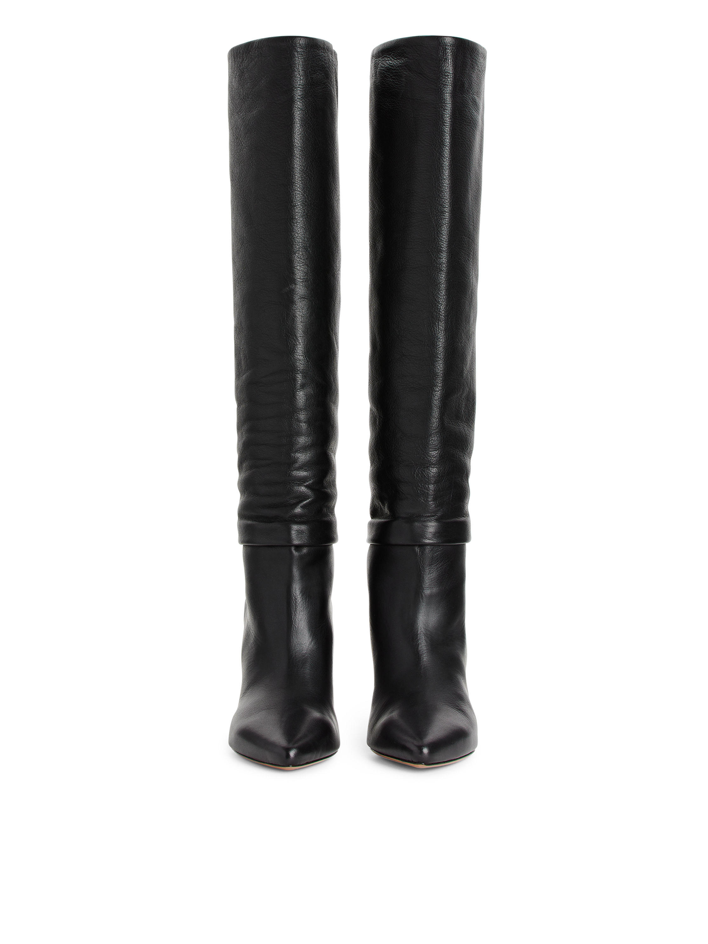 Fabric Swatch image of Arket knee-high slouch leather boots in black