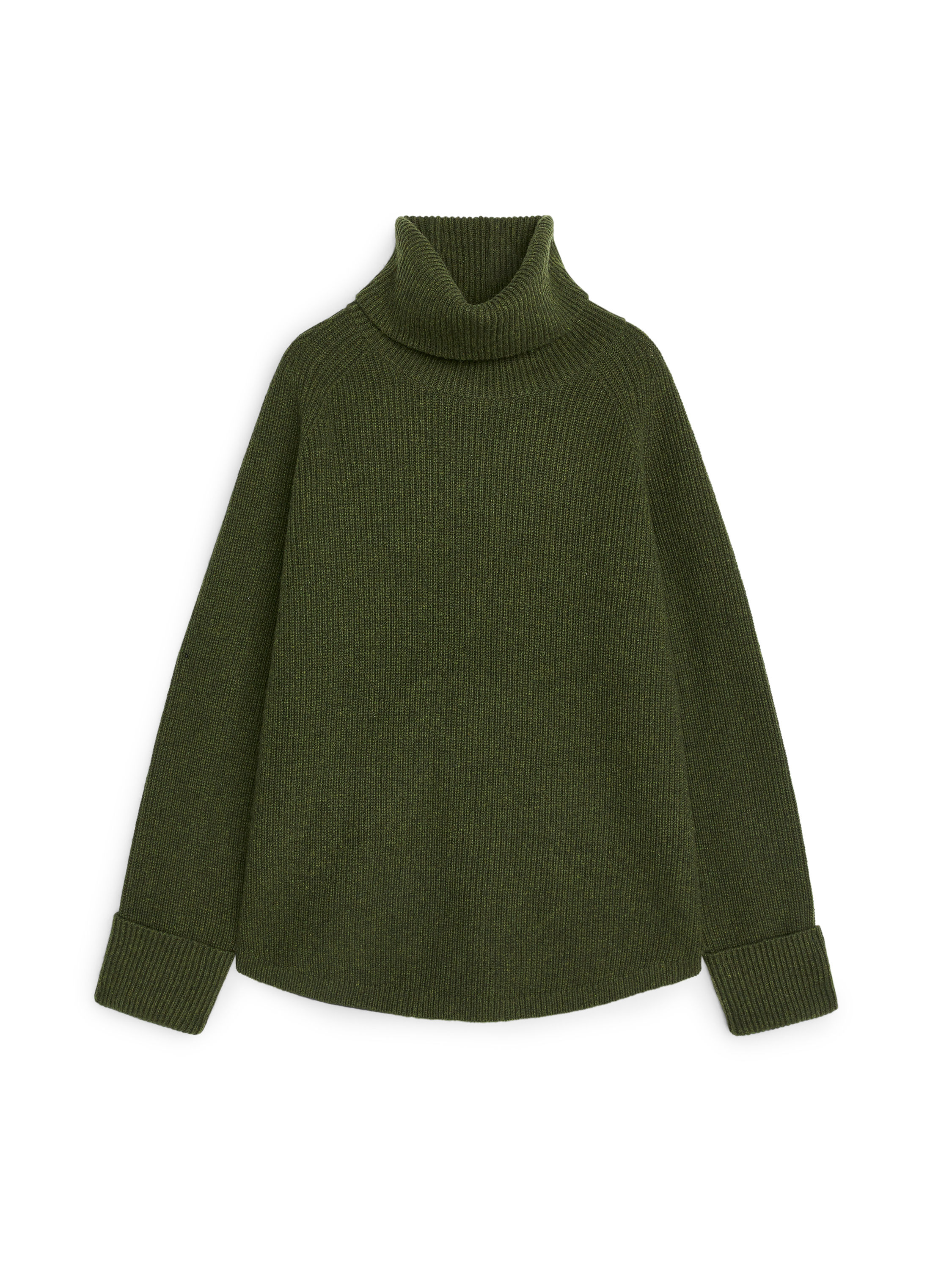 Fabric Swatch image of Arket relaxed roll-neck jumper in green