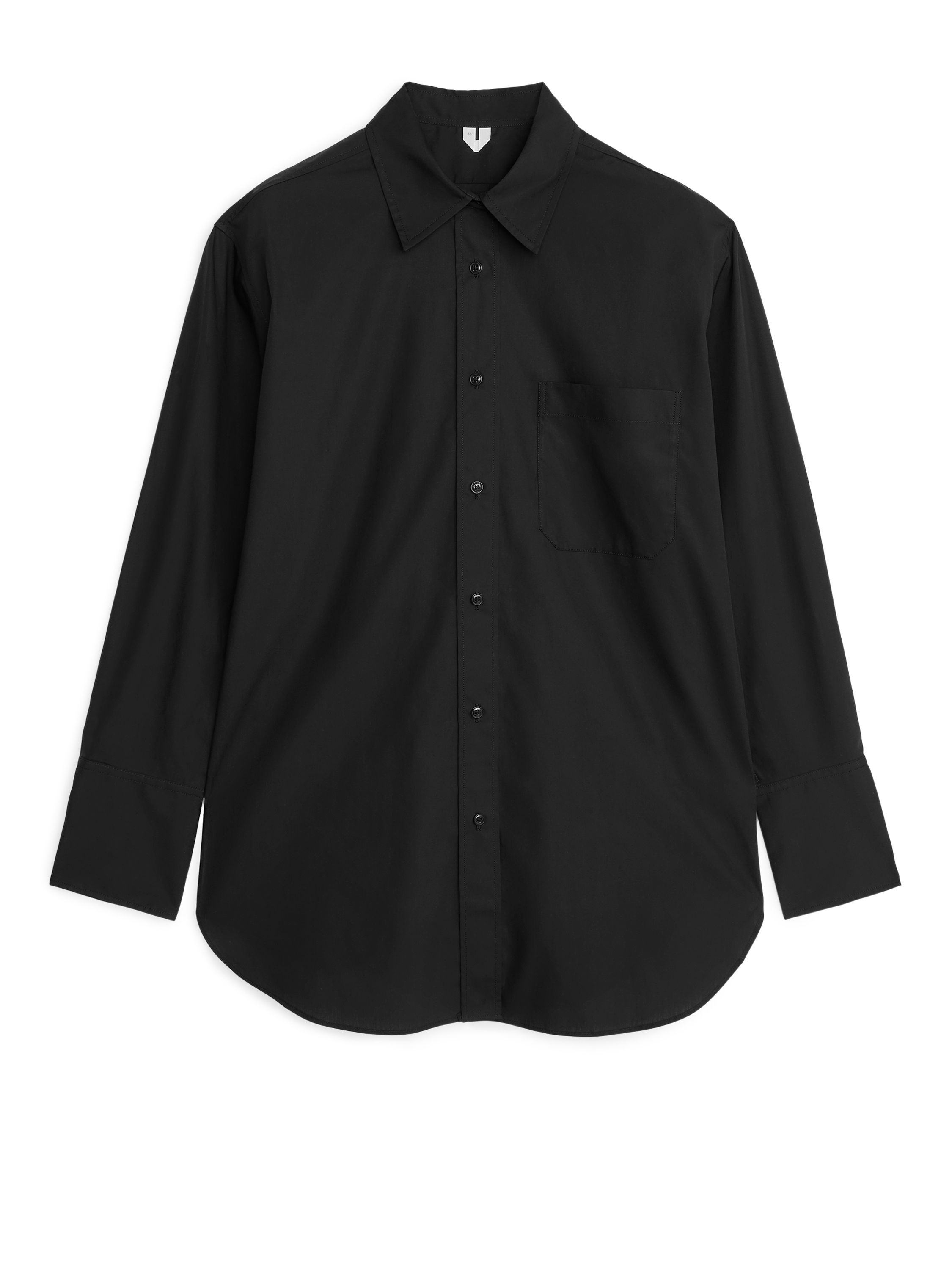 Fabric Swatch image of Arket oversized poplin shirt in black