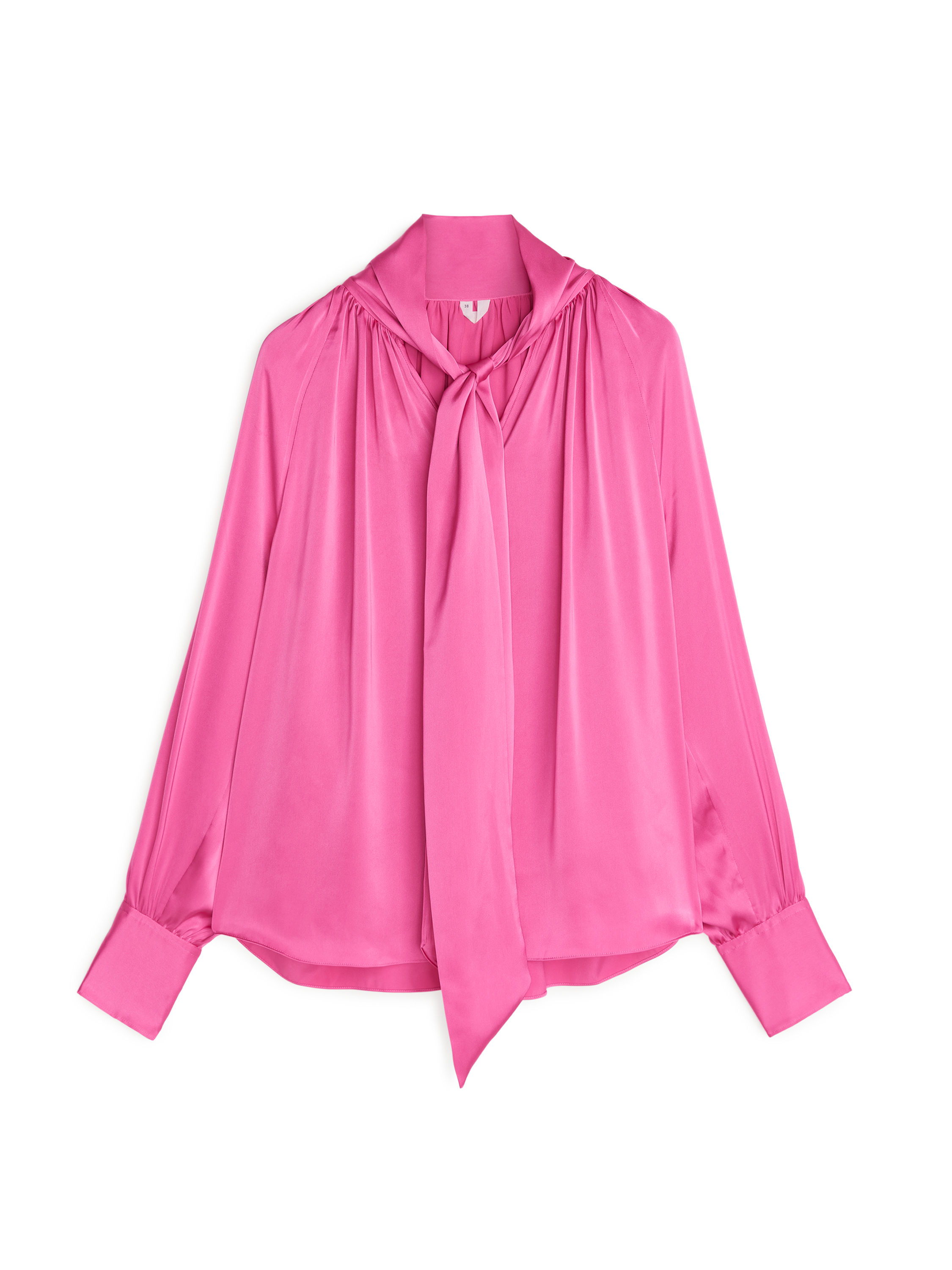 Fabric Swatch image of Arket tie neck satin blouse in pink
