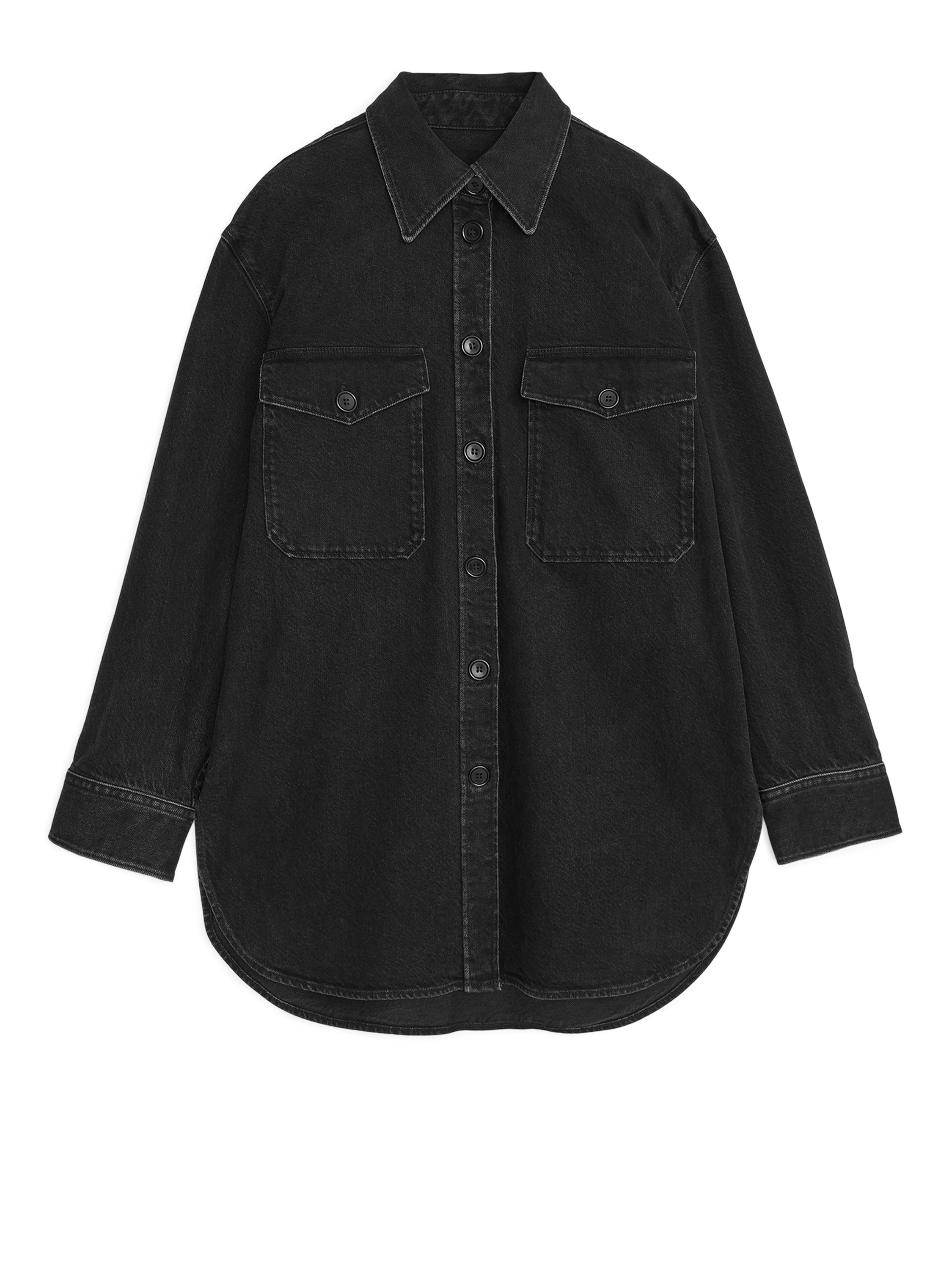 Fabric Swatch image of Arket denim overshirt jacket in black